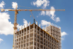 Exterior house wall heat insulation with mineral wool, building under construction. stock photos