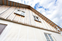 External wall insulation in wooden house Stock Image