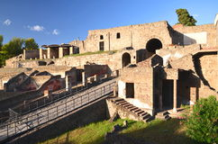 External walls of famous antique ruins of town pompeii in southern italy Royalty Free Stock Photography