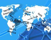 Externalice por todo el mundo indica el contratista independiente y la tierra stock de ilustración