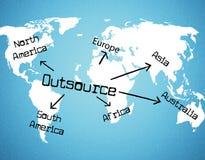 Externalice por todo el mundo representa el contratista independiente y recursos ilustración del vector