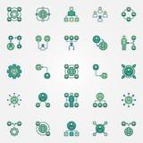 Externalisant les icônes colorées réglées - le vecteur externalisent des signes illustration de vecteur
