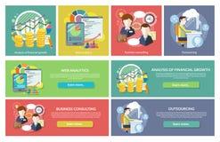 Externalisation de consultation d'Analytics de Web de concepts illustration de vecteur