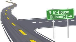 Externalisez la décision interne de chaîne d'approvisionnements d'affaires illustration stock