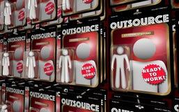Externalize os bonecos de ação externos de aluguer 3d IL dos empregados dos trabalhadores Imagens de Stock Royalty Free