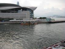 Externe Fassade der Versammlungs- u. Ausstellungsmitte, Hong Kong stockfotos
