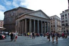 Externe mening van het Pantheon in Rome Stock Afbeeldingen