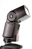 Externes Blinken hing auf die Kameraoberseite ein Stockbild