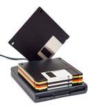 Externes Diskettenlaufwerk usb mit Scheiben eine Stellung Stockfoto