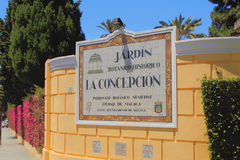 Externes Zeichen des botaniko-historischen Gartens La-Concepción Màlaga, Spanien Lizenzfreies Stockfoto