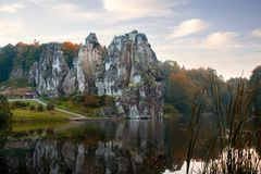The Externsteine, sandstone rock formation in the Teutoburg Fore Royalty Free Stock Photo