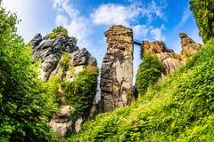 Externsteine w Teutoburg lesie, Niemcy Fotografia Stock
