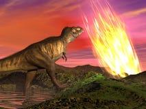Extinção dos dinossauros - 3D rendem Fotos de Stock