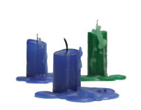 Extinct candles. Three coloured extinct candles on a white background Royalty Free Stock Photos