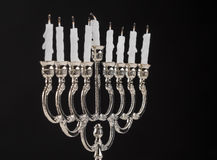 Extinct candles on the menorah. End of holiday Hanukkah Stock Photography