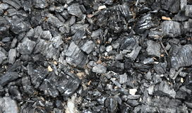 Extinct coals after bonfire. Ashes and cinders from waste burning. Black ashes or charcoal texture, wallpaper. Burnt wood. black c Royalty Free Stock Photos