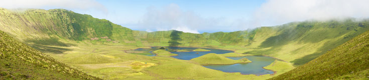 Extinct Volcano in Corvo Island. Extinct Volcano in Azores - Landscape Panoramic Photo Royalty Free Stock Photography
