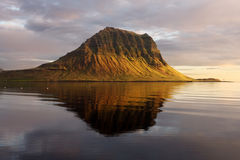 Extinct volcano in Iceland. Mount Kirkjufell Royalty Free Stock Photos