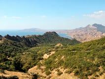 Extinct volcano Karadag in eastern Crimea. The western slope of the extinct volcano Kara Dag in Crimea stock photography