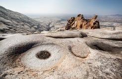 Extinct volcano in Kazakhstan. Extinct volcano Bektau Ata in the desert of eastern Kazakhstan Stock Image