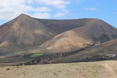 Extinct volcano with large crater, Lanzarote. Stock Photography