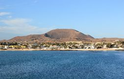 Extinct volcano over the town of Corralejo. Fuerteventura. Stock Photo