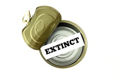 Extinction concept: extinct written inside empty can. Extinction concept: extinct written on piece of paper inside empty can stock image