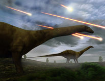 Extinction Of The Dinosaurs Meteor Shower. Brontosaurs look upon the meteors raining down that preceded the larger asteroid strike that would lead to the Stock Image
