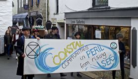 Climate change protest in Looe, Cornwall royalty free stock photography