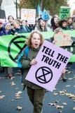 Extinction rebellion protesters on Westminster Bridge, London royalty free stock photos