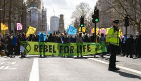 Extinction Rebellion Rally Demonstration in London stock image
