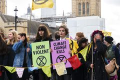 Extinction Rebellion Rally Demonstration in London royalty free stock photos