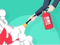 Extinga el fuego Extintor disponible del control del bombero Diseño plano del ejemplo del vector Aislado en fondo libre illustration