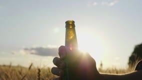 Extinga sua sede com uma cerveja fresca Silhueta da garrafa, que é aberta no por do sol perto do campo de trigo video estoque