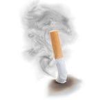 Extinguisedsigarette met rookwolk. stock afbeeldingen
