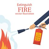 Extinguish fire. Fireman hold in hand fire extinguisher. Vector illustration flat design. Isolated on white background. Protection from flame. Show training vector illustration