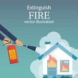 Extinguish fire in home. Burning house. Fireman hold in hand fire extinguisher. Vector illustration flat design. Isolated on white background. Protection from stock illustration