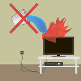 Extinguish the fire. TV lights extinguish with water can not extinguish a fire extinguisher stock illustration