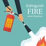 Extinguish fire vector. Extinguish fire. Fireman hold in hand fire extinguisher. Vector illustration flat design. on background. Protection from flame. Show stock illustration