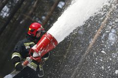 Extinguish the forest fire with special foam royalty free stock photo
