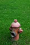 Extinguish on green grass. Close up shot of extinguish on green grass Royalty Free Stock Images