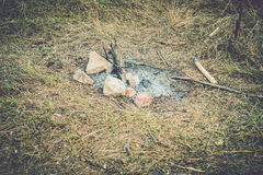 Extinguished campfire. Ash of an extinguished campfire royalty free stock photo
