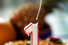 Extinguished candle on a festive cake, symbolizes the end of the holiday. stock photography