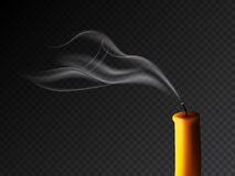 Extinguished candle with smog on dark transparent background. Vector realistic illustration. Vector realistic extinguished candle with smog on dark transparent Royalty Free Stock Image