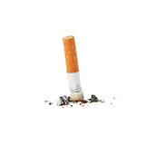 Extinguished cigarette. Isolated on a white background royalty free stock image