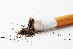 Extinguished cigarette with ash. Isolated on white background stock photography