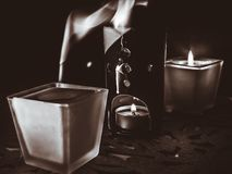 Extinguished decorative candles on a dark background.  stock photos