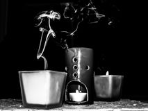 Extinguished decorative candles on a dark background.  stock images