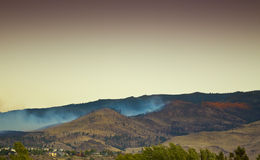 Extinguished Forest Fire. With blue smoke and sunset light royalty free stock image