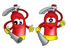 Extinguisher. Illustration of two red extinguishers with faces royalty free illustration